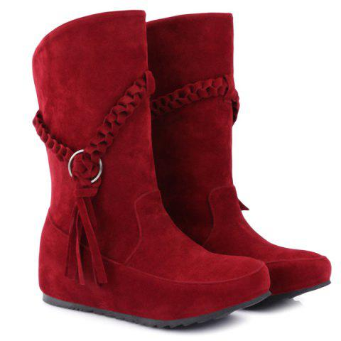 Fringe Braid Suede Mid-Calf Boots - RED 42
