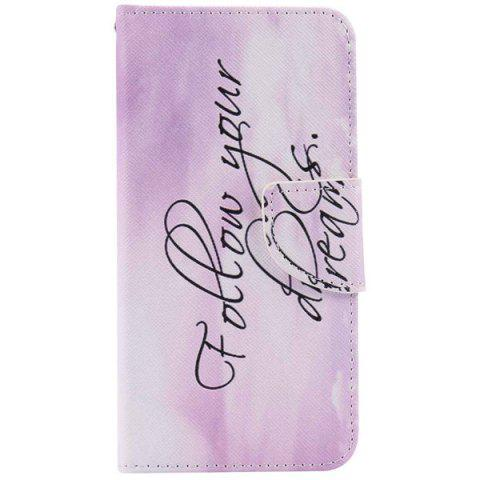 Quote Letter Pattern Wallet Phone Case For iPhone 7 - LIGHT PURPLE
