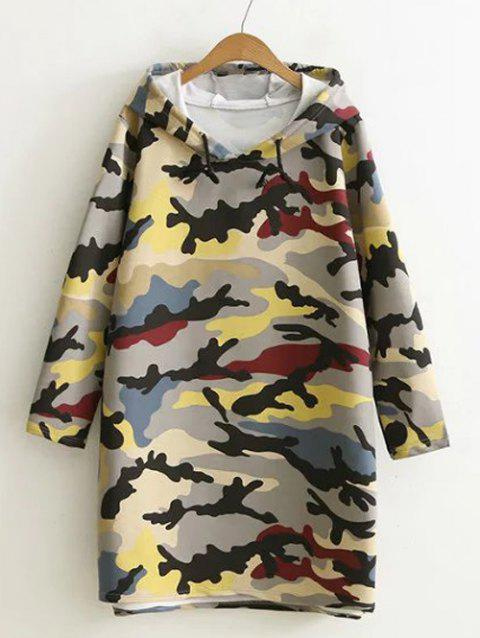 Camouflage Print Hooded Sweatshirt Dress - GRAY XL