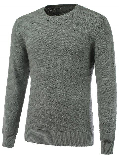 Long Sleeve Round Neck Ribbed Pullover Sweater - LIGHT GRAY XL