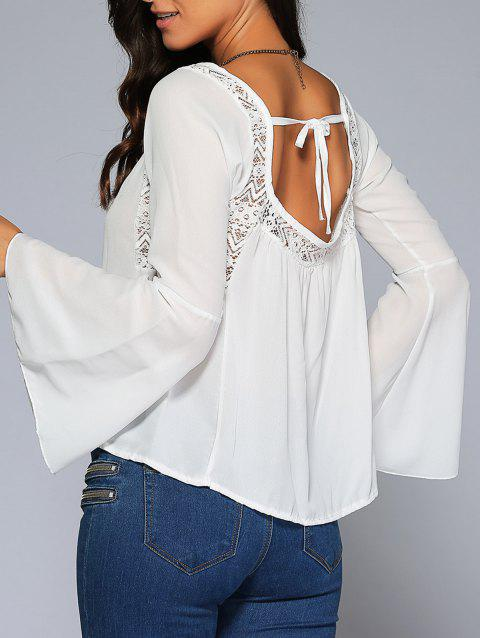 Bell Sleeve Lace Insert Open Back Blouse - WHITE M