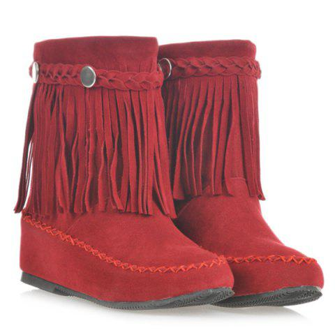 Suede Braid Fringe Flat Heel Short Boots - RED 42