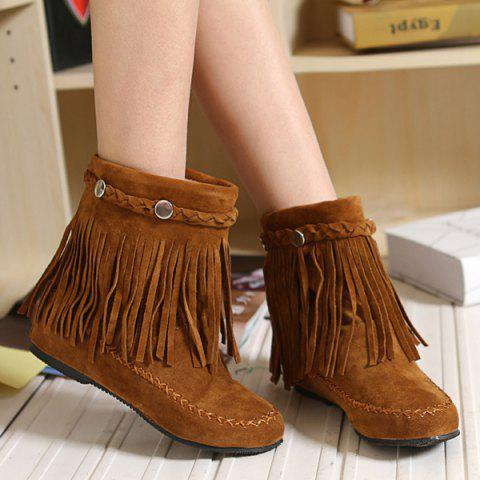 Suede Braid Fringe Flat Heel Short Boots - BROWN 42