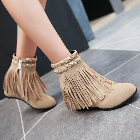 Suede Fringe Invisible Wedge Bottes - Abricot 40