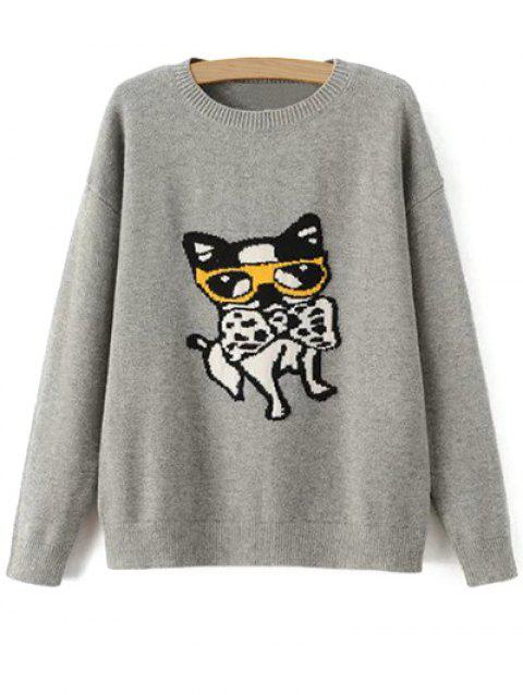 Puppy Pullover Sweater - GRAY ONE SIZE