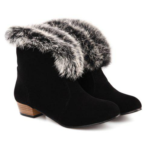 Suede Faux Fur Low Heel Ankle Boots - BLACK 41
