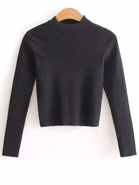 High Neck Cropped Sweater - BLACK ONE SIZE