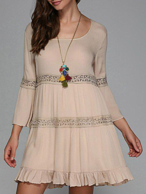 Openwork Bell Sleeve Dress - APRICOT ONE SIZE
