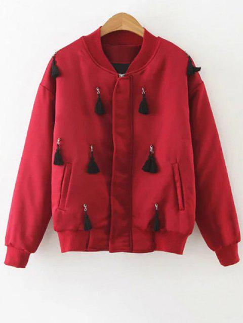 Zip-Up Bordée Bomber Jacket - Rouge S