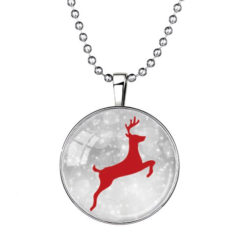 Christmas Snow Elk Pattern Pendant Necklace - SILVER