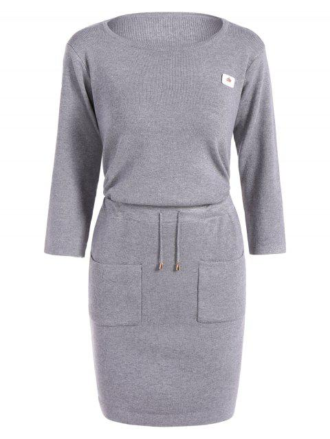 Mini Drawstring Sweater Dress - LIGHT GRAY ONE SIZE