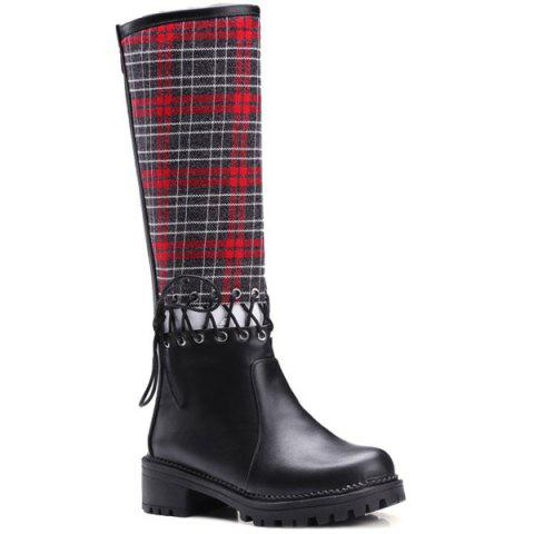 Criss-Cross Splicing Plaid Pattern Boots - RED 37