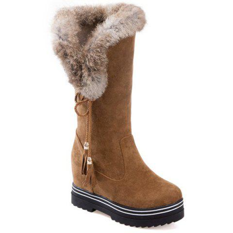 Faux Fur Tassels Mid Calf Boots - BROWN 38