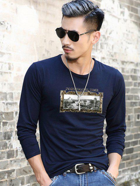 Scenery Print Long Sleeve T-Shirt - PURPLISH BLUE XL