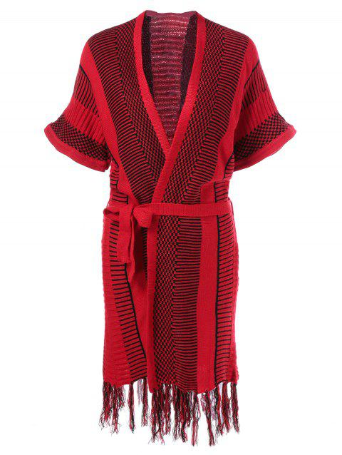 9a39f3062a1a 41% OFF  2019 Striped Fringed Knit Wrap Dress In RED ONE SIZE ...