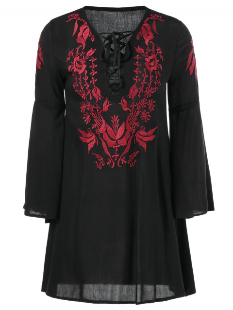 Embroidery Lace Up Bell Sleeve Dress - BLACK ONE SIZE(FIT SIZE XS TO M)