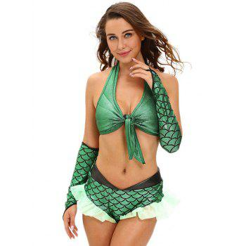 Ruffled Scale Mermaid Halter Cosplay Suit - GREEN L