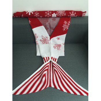 Warmth Snowflakes and Santa Claus Pattern Knitting Christmas Mermaid Blanket - RED L
