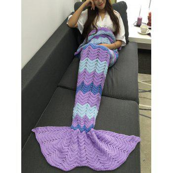 Super Soft Openwork Color Block Knitting Mermaid Blanket