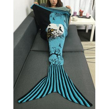 Comfortable Deadwood and Bat Pattern Knitted Mermaid Tail Blanket