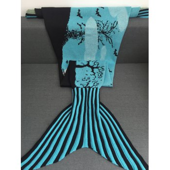 Comfortable Deadwood and Bat Pattern Knitted Mermaid Tail Blanket - BLUE