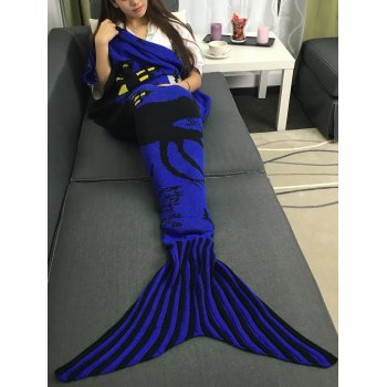 Portable Acrylic Knitted Halloween Mermaid Tail Blanket - BLUISH VIOLET L