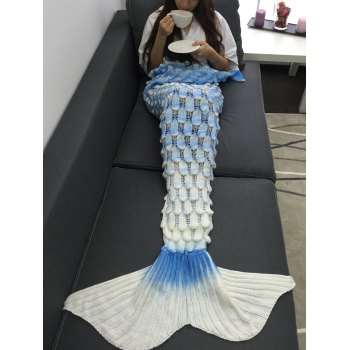 Soft Openwork Design Ombre Color Knitted Mermaid Blanket