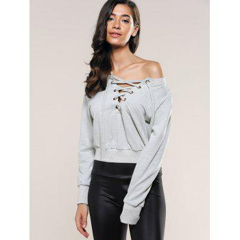 Casual Long Sleeve Lace-Up Crop Top