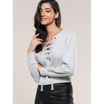 Casual Long Sleeve Lace-Up Crop Top - LIGHT GRAY L