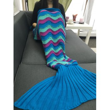 Comfortable Color Block Crochet Knitting Mermaid Tail Design Blanket - COLORMIX
