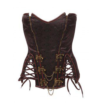 Metallic Chains Zipped Lace Up Corset