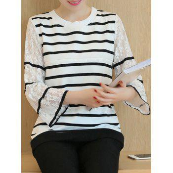 Striped Lace Spliced Blouse
