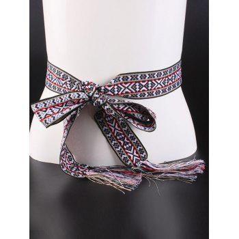 Geometry Embroidery Weaving Tassel Knotted Belt