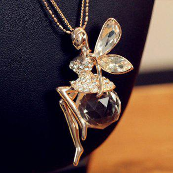 Fairy Pendant Faux Crystal Rhinestone Sweater Chain Necklace