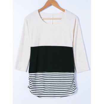 Striped and Ribbed T Shirt