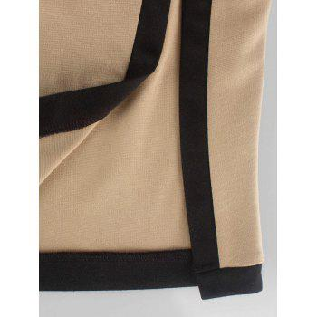 Two-Toned Side Slit Sheath Dress - LIGHT KHAKI S