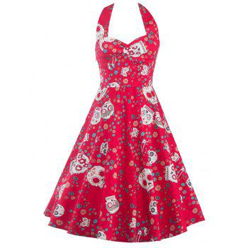 Halter Neck Skull Print Backless Dress