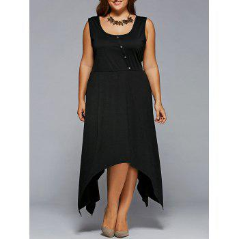 Plus Size Inclined Button Hankerchief Dress