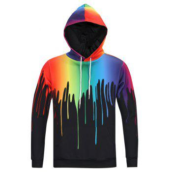 New Look Paint Splash Print Long Sleeves Hoodie For Men