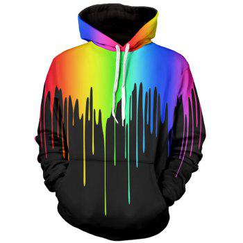 Long Sleeve Multicolor Paint Dripping Hoodie