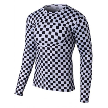Long Sleeve Round Neck Grid Pattern T-Shirt