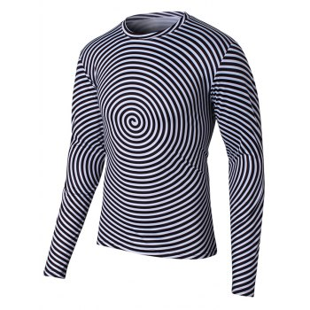 Round Neck Long Sleeve Swirl Print T-Shirt