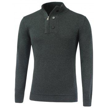 Ribbed Stand Collar Half-Zip Sweater