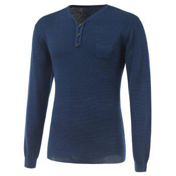 V-Neck Buttoned Breast Pocket Rib Cuff Knitwear