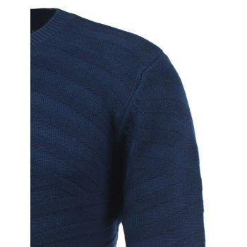 Long Sleeve Round Neck Ribbed Pullover Sweater - SAPPHIRE BLUE SAPPHIRE BLUE