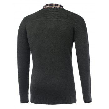Rib Cuff Plaid Long Sleeve Pullover Knitwear - DEEP GRAY L