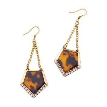 Vintage Rhinestone Resin Geometric Earrings - GOLDEN GOLDEN