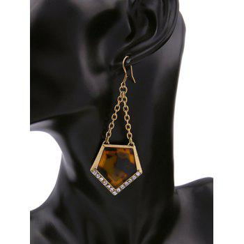 Vintage Rhinestone Resin Geometric Earrings -  GOLDEN