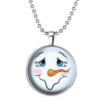 Smile Snowman Pattern Christmas Pendant Necklace