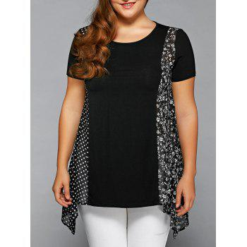 Plus Size Polka Dot and Floral Blouse